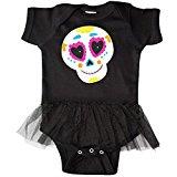 b3cbf61e95 Sugar Skull Orange Infant Tutu Bodysuit Black